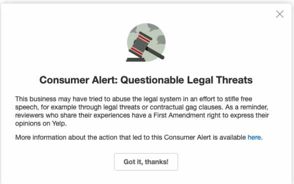 Yelp's warning to customers.